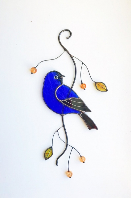 Blue Bird Stained Glass Bird Suncatcher