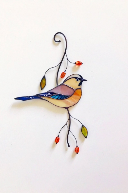 Mockingjay Stained Glass Bird Suncatcher