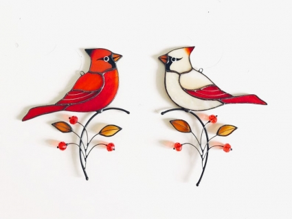 Red Cardinal Stained Glass Bird Suncatcher - the image of a bird that will take your prayers and words to paradise