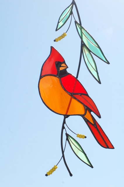 Red  Cardinal Stained Glass Bird Suncatcher