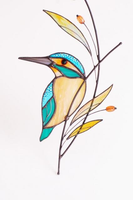 Kingfisher Stained Glass Bird Suncatcher