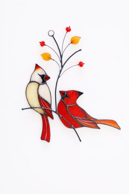 Red Cardinal Couple Stained Glass Bird Suncatcher