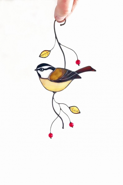 Chickadee Bird Stained Glass Suncatcher