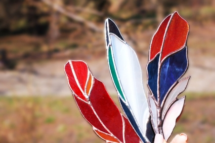 Red Cardinal Feather Stained Glass Suncatcher