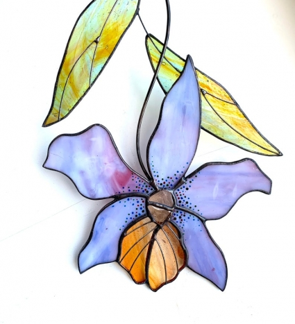 Orchid Flower Stained Glass Suncatcher