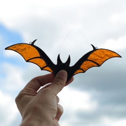 Halloween Bat stained glass sun-catcher window modern decor - Orange