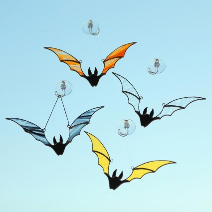 Halloween Bat stained glass sun-catcher Halloween gift ideas modern decor - Yellow