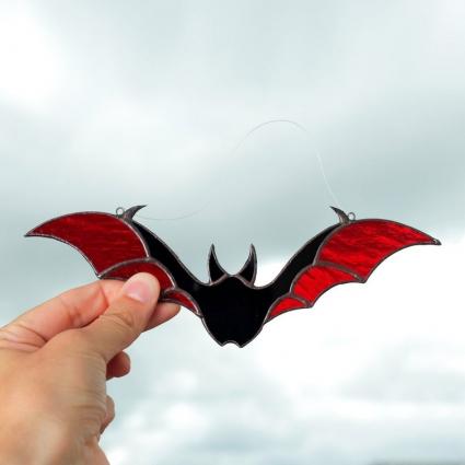 Halloween Bat stained glass sun-catcher window modern decor - Red