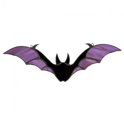 Halloween Bat stained glass sun-catcher modern home decor - Purple