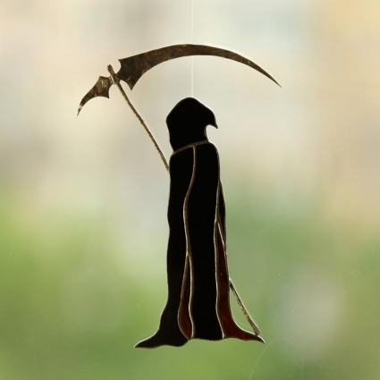 Grim Reaper stained glass sun-catcher window modern decor