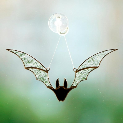 Halloween Bat stained glass sun-catcher Halloween gift ideas modern decor - Clear