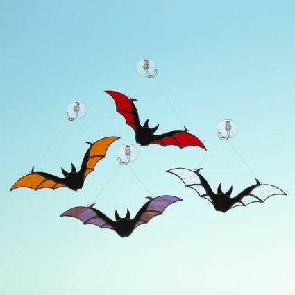 Halloween Bat stained glass sun-catcher window modern decor - Clear
