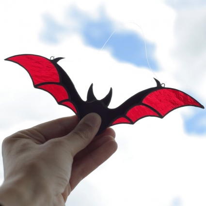 Halloween Bat stained glass sun-catcher window modern decor - Red