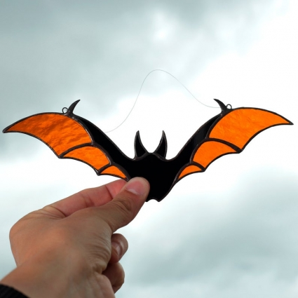 Halloween Bat stained glass sun-catcher window modern decor - Orange