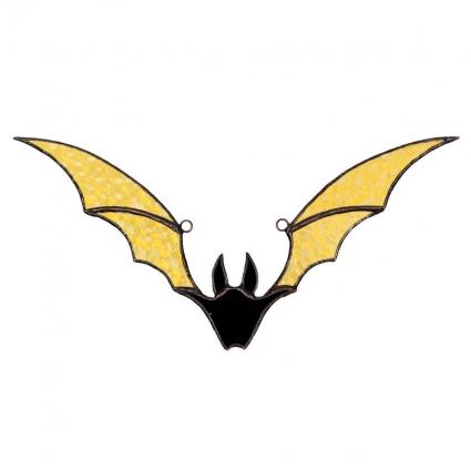 Halloween Bat stained glass sun-catcher Halloween gift ideas modern decor - Yellow