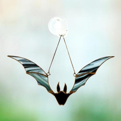 Halloween Bat stained glass sun-catcher Halloween gift ideas modern decor- Black